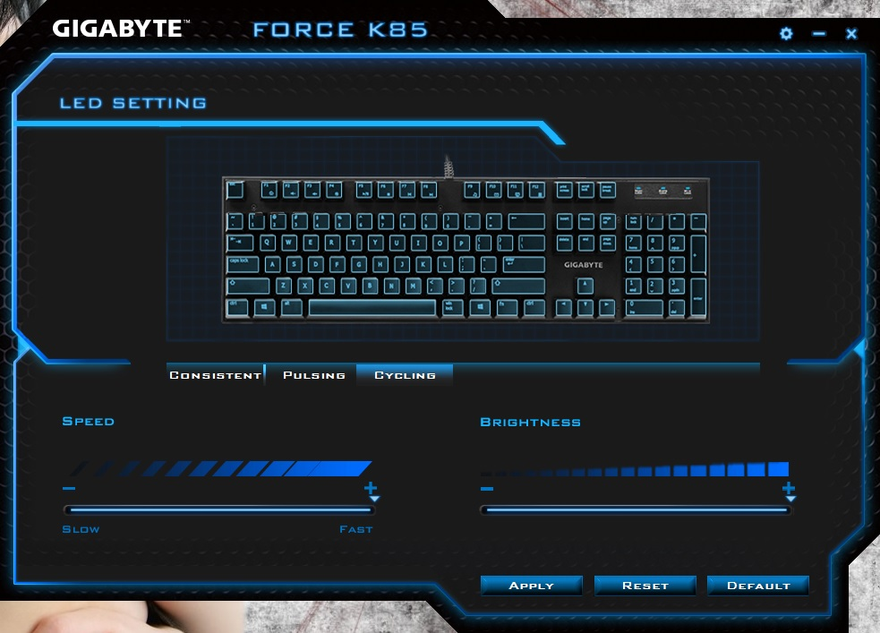 GIGABYTE FORCE K85 RGB Review - Software & Lighting