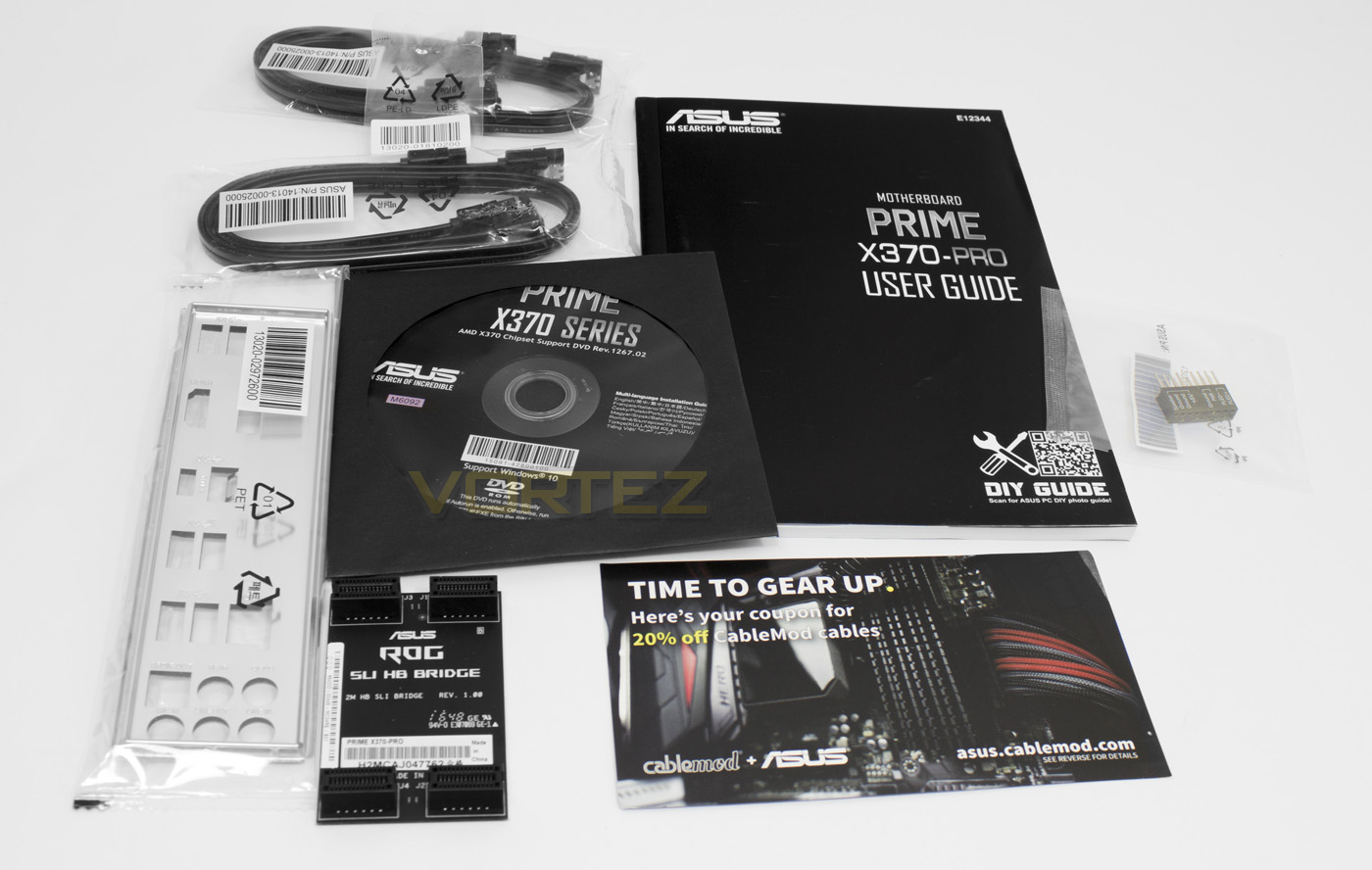 Along with the motherboard, ASUS provides users with the User's manual,  ASUS Q-Shield, 4 x SATA cable, 1 x M.2 Screw Package, a driver DVD, a two  way SLI ...