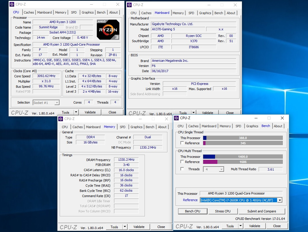AMD Ryzen 3 1200 and 1300X Review - Temperatures & Overclocking