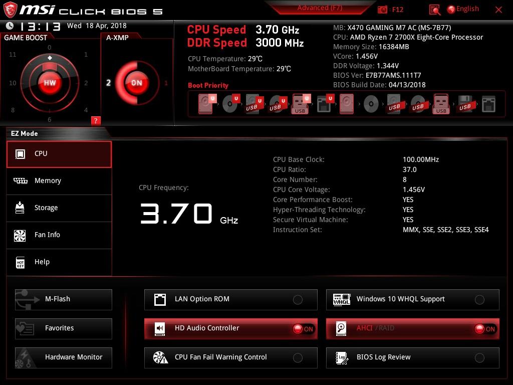 MSI X470 GAMING M7 AC Review - Overclocking & BIOS