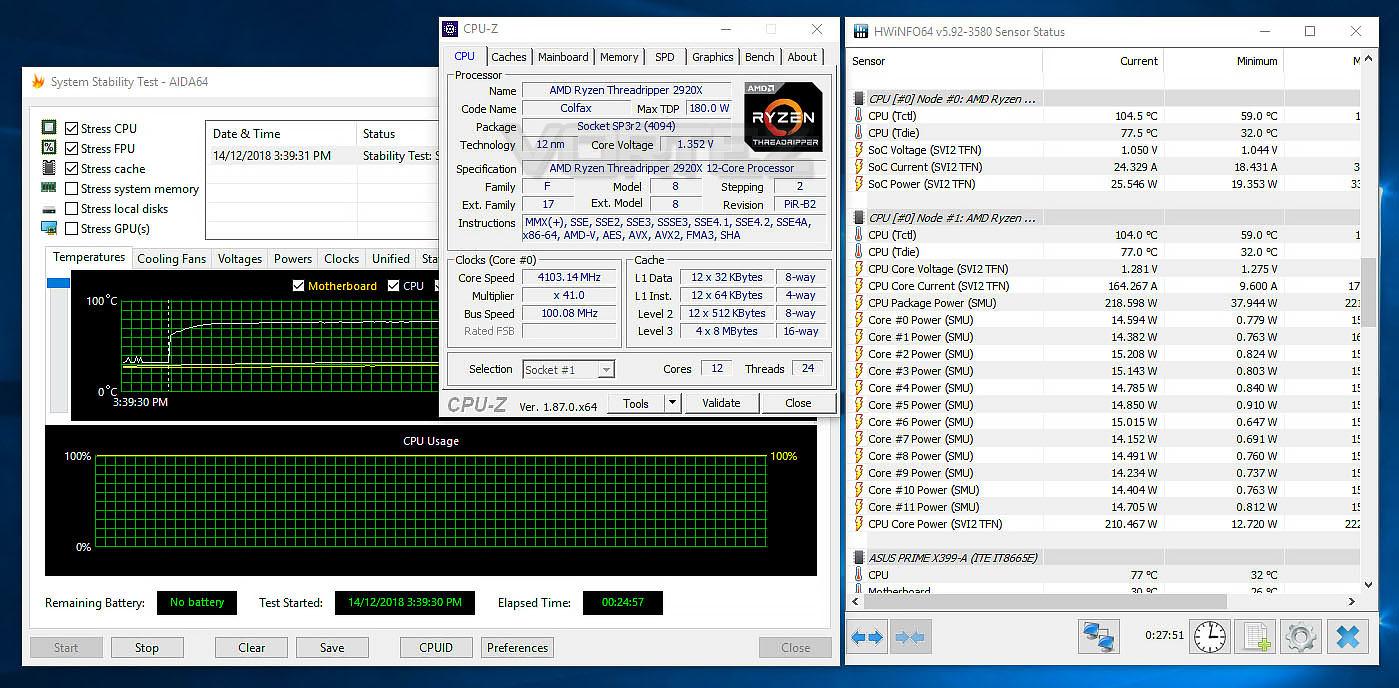AMD Ryzen Threadripper 2920X & 2970WX Review - Temperatures