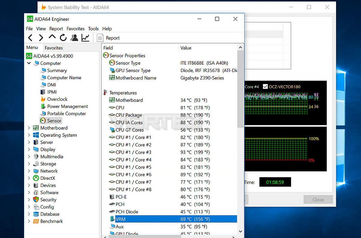 GIGABYTE Z390 Designare Review - Overclocking & VRM Cooling