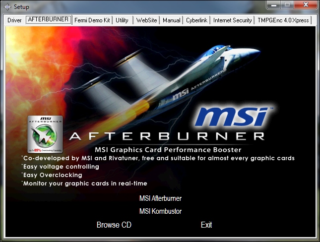 MSI N465GTX Twin Frozr II Graphics Card review - Software Bundle