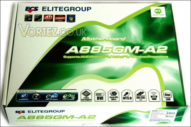 ECS A885GM-A2 Motherboard Review - Packaging and board