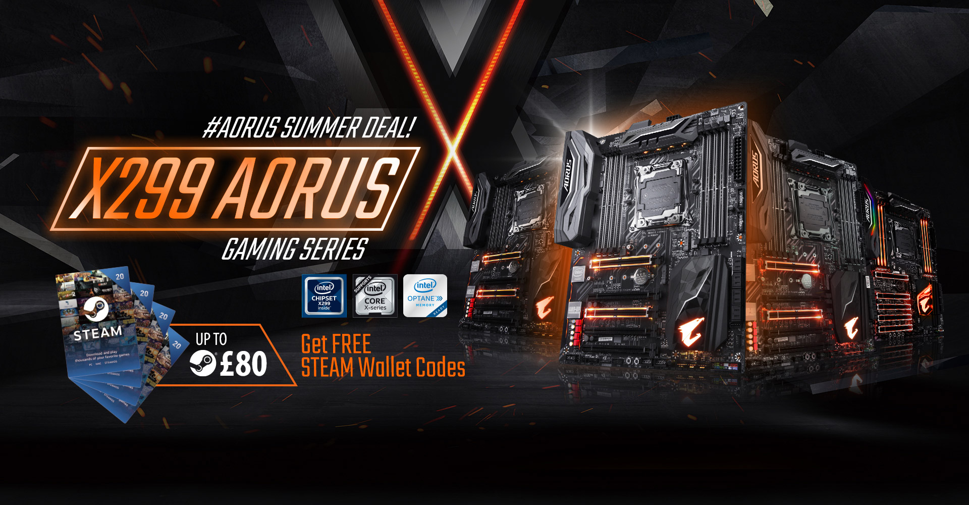Buy Gigabyte Aorus X299 And Get Up To 80 Steam Wallet Codes 20 Purchase Any Of The New Brand Motherboards For Intel Core X Processors Receive Free