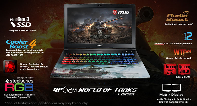 MSI GP62M World of Tanks Edition Notebook Now Available