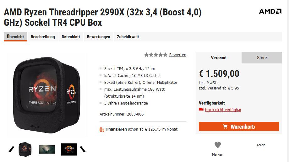 AMD's 32-Core Threadripper Appears On German Etailer Site