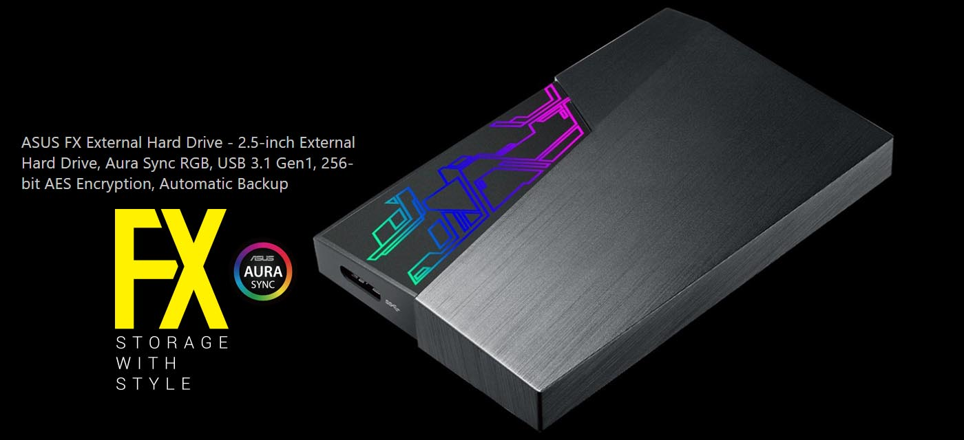 ASUS FX HDD External Drive with Aura Sync RGB Lighting