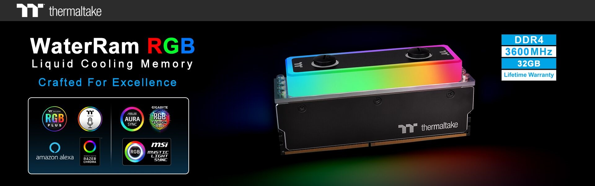 Thermaltake Presents WaterRAM RGB DDR4-3600MHz 32GB Memory Kit